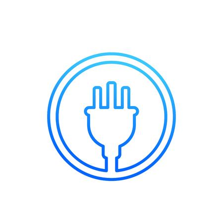 uk electric plug linear icon on white Ilustracje wektorowe
