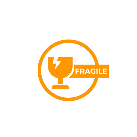 fragile sticker, vector sign