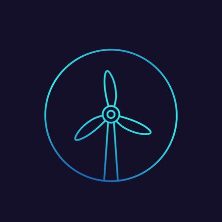 wind turbine icon, windmill linear vector