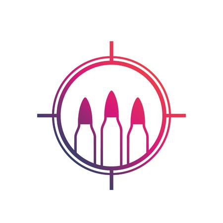 bullets, ammo vector logo with crosshair