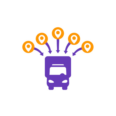 Logistics icon, van and delivery points