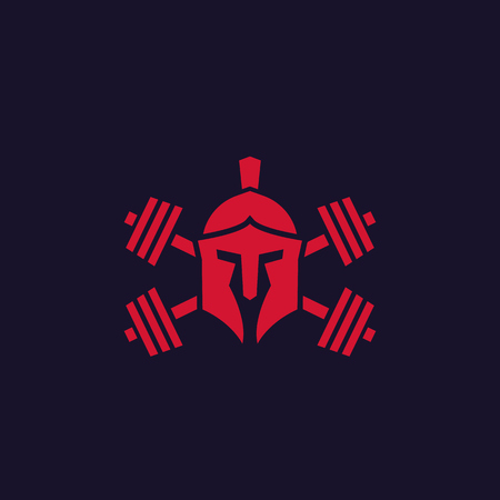 Gym logo with spartan helmet and barbells
