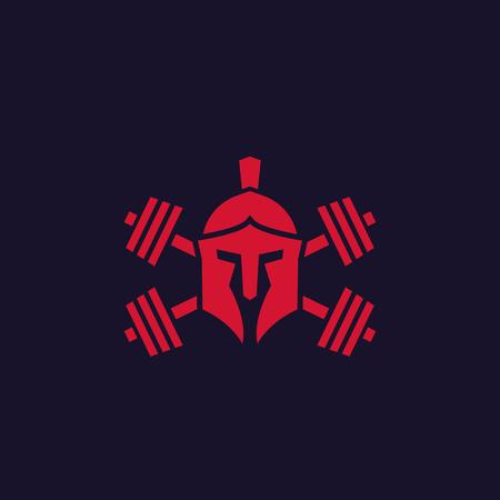 Logotipo de gimnasio con casco espartano y pesas.