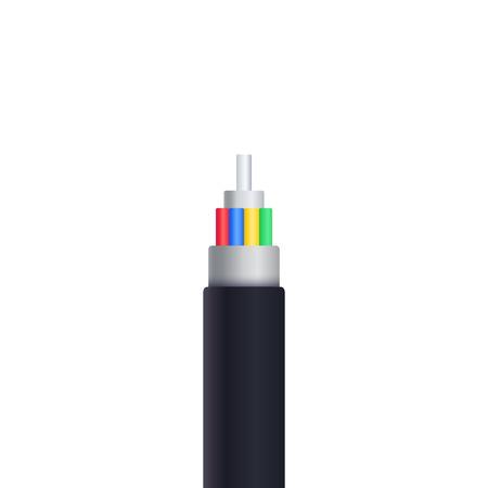 cavo in fibra ottica isolato su bianco illustrazione vettoriale