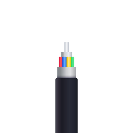 optic fiber cable isolated on white vector illustration