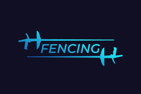 fencing vector logo with foils Vettoriali