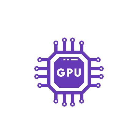 GPU icon, graphic chipset vector