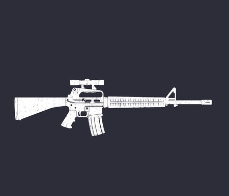 5.56 mm assault rifle, automatic gun with optical scope