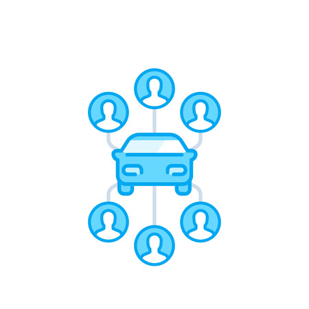 carsharing icon on white, carpooling service vector