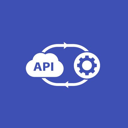 API, interfaz de programación de aplicaciones, icono de software en la nube