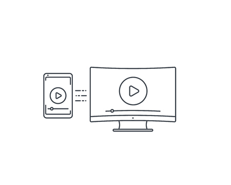 play video, screen mirroring with TV and smartphone vector line icon on white