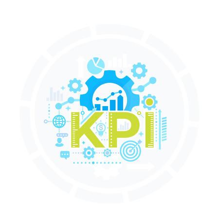 KPI, indicador clave de rendimiento, concepto de gestión, vector de análisis empresarial