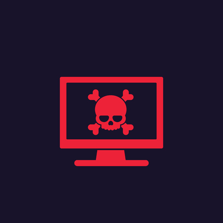malware, spam, online scam, computer virus, security threat vector icon
