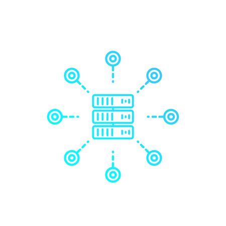 mainframe, server, hosting service vector linear icon on white