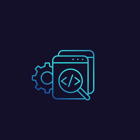 Code review, software, apps development vector linear icon Vektorgrafik