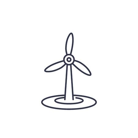 wind turbine icon on white, linear Illustration