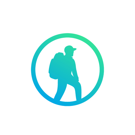 Hiker icon, backpacking, hiking vector Illustration