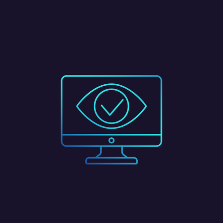 Monitoring, parental control icon, eye on computer screen, linear style