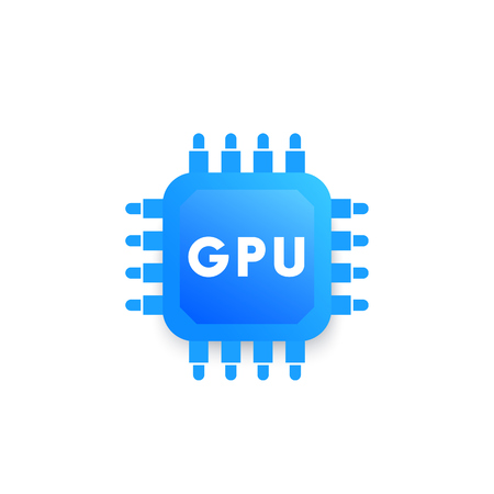 GPU, graphic chipset vector icon, blue on white