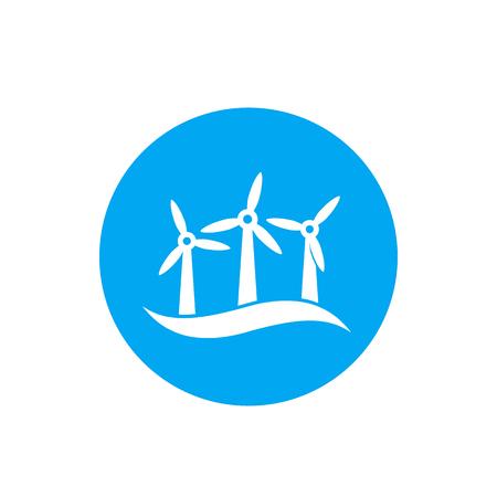 wind turbines, offshore wind farm vector icon