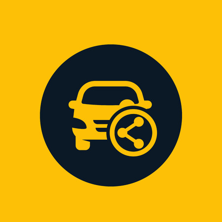 carsharing service icon, vector sign