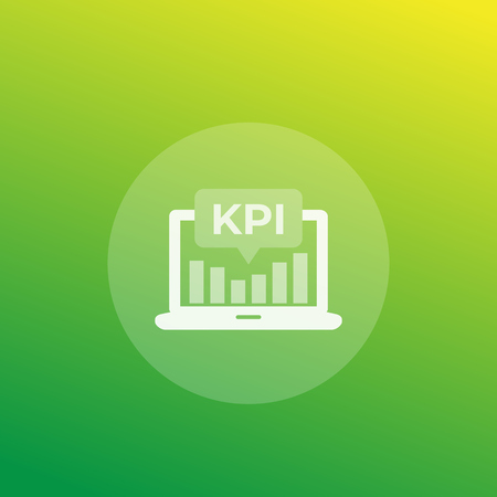 KPI icon with laptop and analytic graph