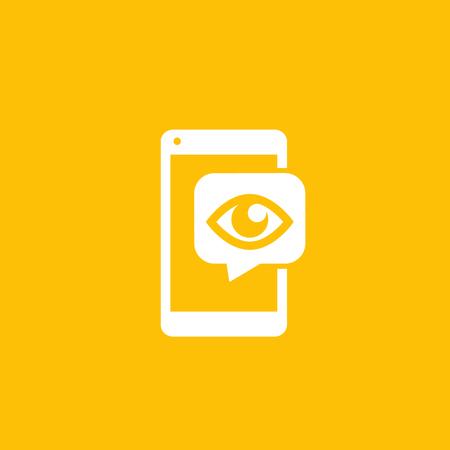 Monitoring icon, eye on smartphone screen, vector