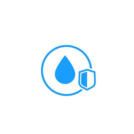 wasserdichtes Symbol mit Schild Vektorgrafik