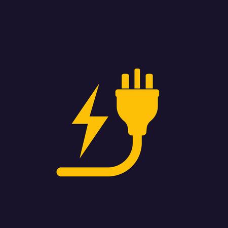 uk electric plug, electricity symbol Иллюстрация