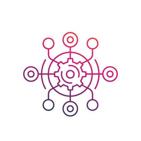 technologischer Prozess, Produktion, Innovation Vektor Linie Symbol