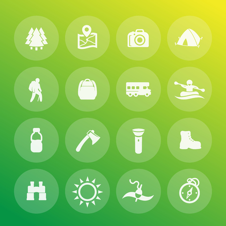 Hiking, camping and outdoor adventures vector icons