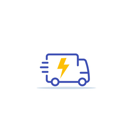 electric van, delivery cargo truck icon