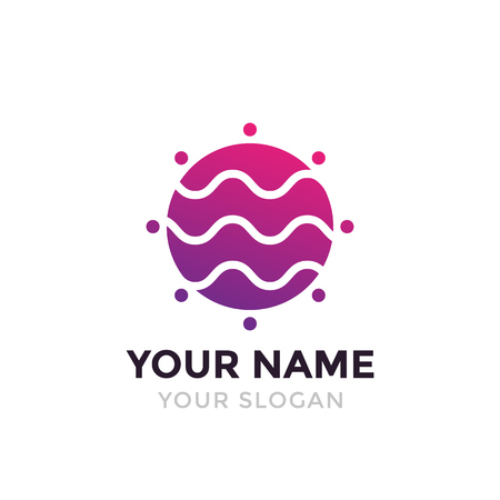 round vector violet logo with waves