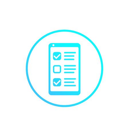 formulaire de sondage en ligne dans le téléphone, liste de contrôle, icône de rétroaction