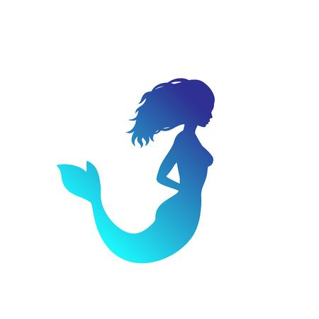 silueta de sirena aislado sobre blanco Ilustración de vector