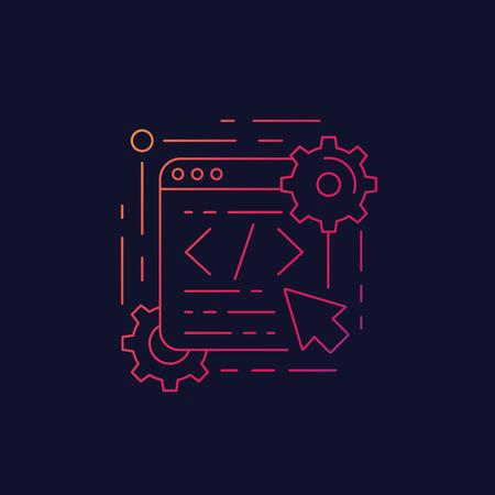 coding, web design and app development, linear icon