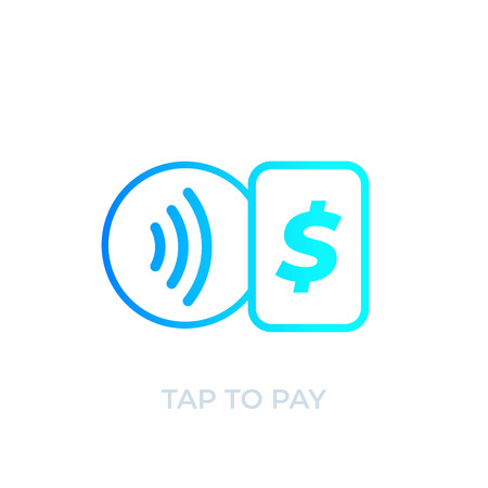 Contactless payment with card, tap to pay, vector