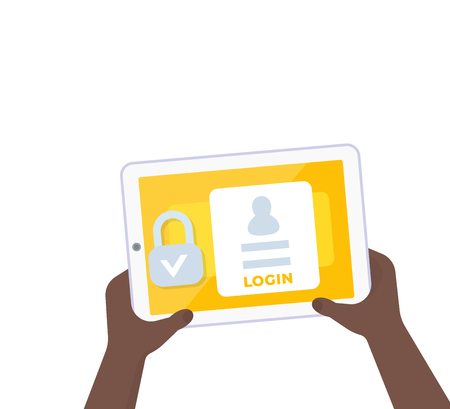 login, authentication, tablet in hands, vector illustration Illustration