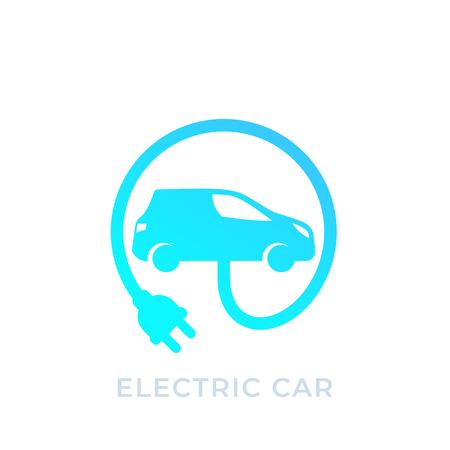 electric car with plug, EV vector icon