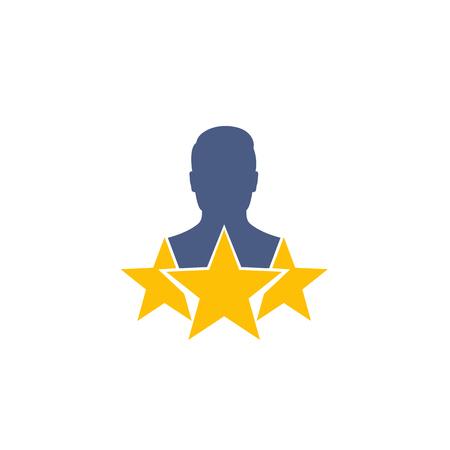 employee review icon on white