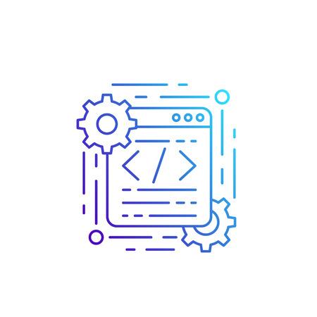 coding and web design vector line icon