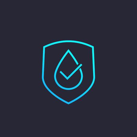 waterproof, water resistant vector icon, linear