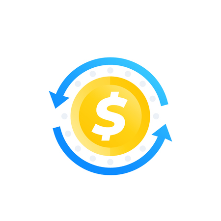 cash back, money refund, exchange icon Illustration