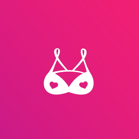 lingerie logo, bra with hearts vector