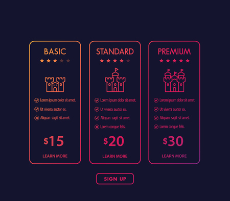 Banner for tariffs, set of pricing table and plans  イラスト・ベクター素材