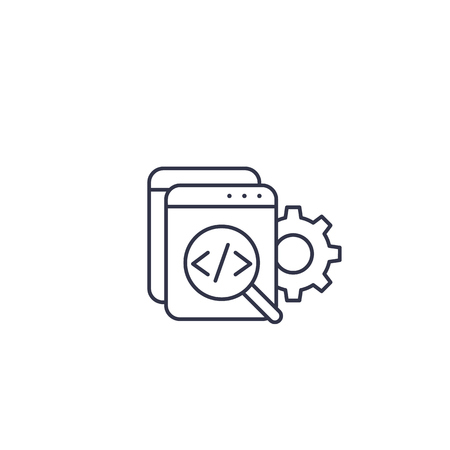 Code review, software, apps development linear icon on white