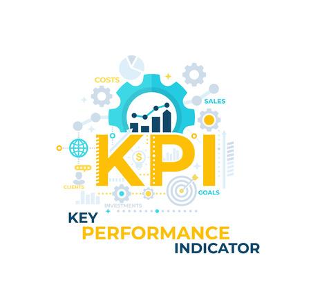KPI, ilustración de vector de indicador clave de rendimiento