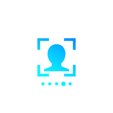 Face recognition, biometric scanning icon