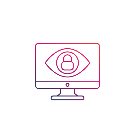 Monitoring, parental control icon, eye on computer screen with lock, linear 일러스트