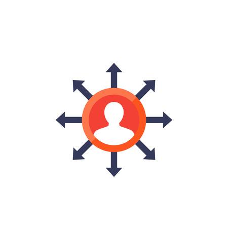 délégation, icône de gestion sur blanc